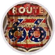 Route 66 T-shirt Round Beach Towel