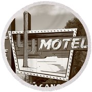 Route 66 - Western Motel Round Beach Towel