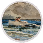 Rowing At Prouts Neck Round Beach Towel by Winslow Homer