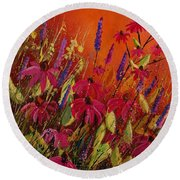 Rudbeckias And Lyatris Round Beach Towel