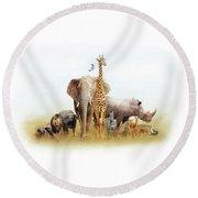 Safari Animals In Africa Composite Round Beach Towel