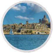 Sail Boat And Cathedral Round Beach Towel