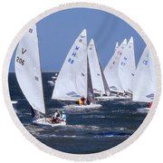 Sailboat Championship Racing Round Beach Towel