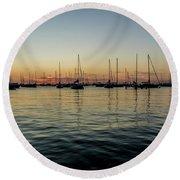 Sailboats At Sunrise  Round Beach Towel