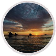 Sailing Boats At Sunset Boracay Tropical Island Philippines Round Beach Towel