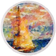 Sailing In The Sea Round Beach Towel