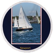 Sailing Newport Round Beach Towel