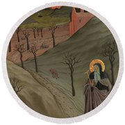 Saint Anthony The Abbot In The Wilderness Round Beach Towel