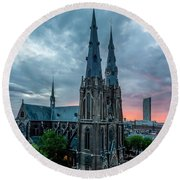 Saint Catherina Church In Eindhoven Round Beach Towel by Semmick Photo