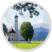 Saint Coloman Church 2 Round Beach Towel