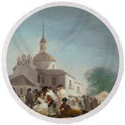 Saint Isidore's Day At The Saint's Hermitage Round Beach Towel