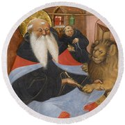 Saint Jerome Extracting A Thorn From A Lion's Paw Round Beach Towel