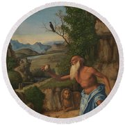 Saint Jerome In A Landscape Round Beach Towel