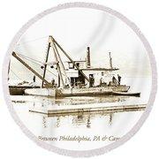 Salvage Barge, Delaware River, Philadelphia, C.1900 Round Beach Towel