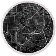 San Francisco California Usa Dark Map Round Beach Towel