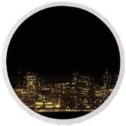 San Francisco Nighttime Skyline Round Beach Towel