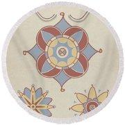 "San Juan Capistrano Mission Ceiling Decoration From The Portfolio ""decorative Art Of Spanish California"" Round Beach Towel"