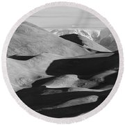 Monochrome Sand Dunes And Rocky Mountains Panorama Round Beach Towel
