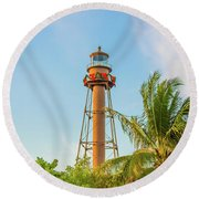Sanibel Lighthouse Round Beach Towel