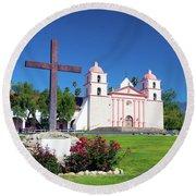 Santa Barbara Mission And Cross Round Beach Towel