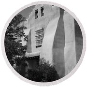 Santa Fe - Adobe Church Round Beach Towel