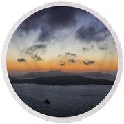 Santorini Caldera Sunset Round Beach Towel