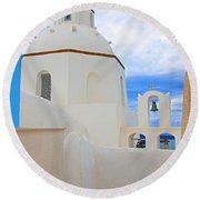 Santorini Church Dome Round Beach Towel
