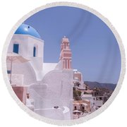 Santorini Oia Blue Domed Church Round Beach Towel
