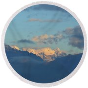Scenic Ladscape Of Northern Italy Of The Snow Capped Alps  Round Beach Towel