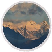 Scenic View Of The Dolomites Mountains With A Cloudy Sky  Round Beach Towel
