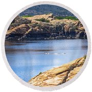Scenic Willow Lake  Round Beach Towel
