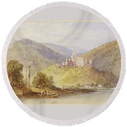 Schloss Stolzenfels From The Banks Of The Lahn Round Beach Towel