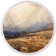 Scottish Landscape With Drover And Cattle Round Beach Towel