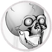 Screaming Skull Round Beach Towel
