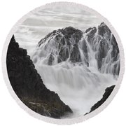 Seal Rock Waves And Rocks 2 Round Beach Towel