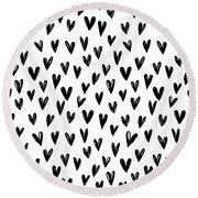 Seamless Pattern With Hand Drawn Hearts.  Round Beach Towel