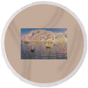 Seascape View Of Palma De Mallorca Round Beach Towel