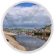 Seaton Harbour - Devon Round Beach Towel