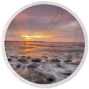 Seawall Sunrise Round Beach Towel