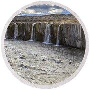 Selfoss Waterfall Round Beach Towel