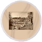 Sepia Waterscape Round Beach Towel