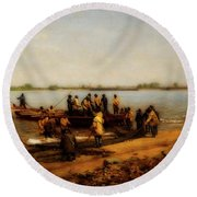 Shad Fishing On The Delaware River Round Beach Towel