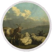 Sheep And Goats Round Beach Towel