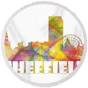 Sheffield England Skyline Round Beach Towel
