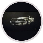 Shelby Mustang Front  Round Beach Towel