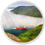 Ship Entering The Narrows Of St John's Round Beach Towel