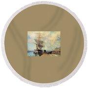 Ship In Harbour Rouen Albert-charles Lebourg Round Beach Towel