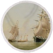 Ship Painting Round Beach Towel by WF Settle