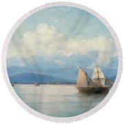 Ships Before The Caucasian Coast. Round Beach Towel