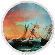 Ships In A Storm At Sunset Round Beach Towel
